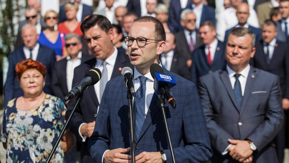 Poseł Marcin Duszek podczas inauguracji kampanii w Białej Podlaskiej, 23.08.2019 r.