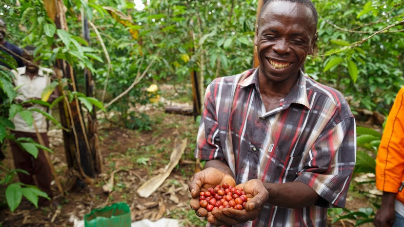 A coffee farmer in Uganda