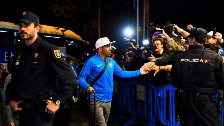 Carlos Tevez arrived in Madrid with the rest of his Boca Juniors team-mates on Wednesday