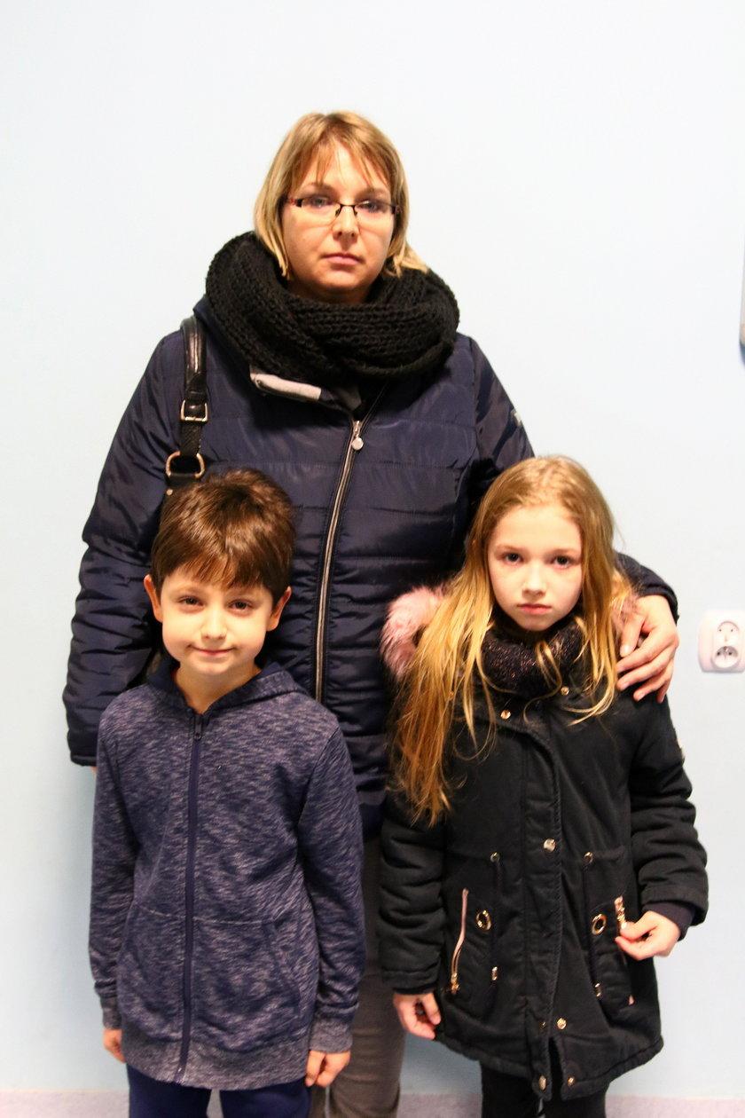 Dagmara Jeronek (38 l.) z dziećmi Mają (9 l.) i Łukaszem (8 l.)