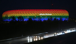 The Allianz Arena has been lit in rainbow colours before for Bayern Munich matches Creator: Andreas GEBERT
