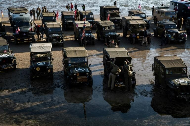 Period vehicles assembled on the beaches in Normandy for the D-Day commemorations