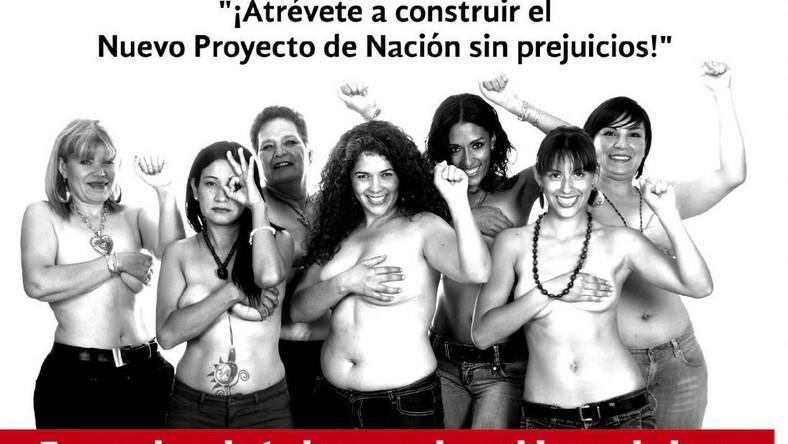 Skandalistka w Meksyku. Juarez walczy o głosy topless! Oto jej plakat