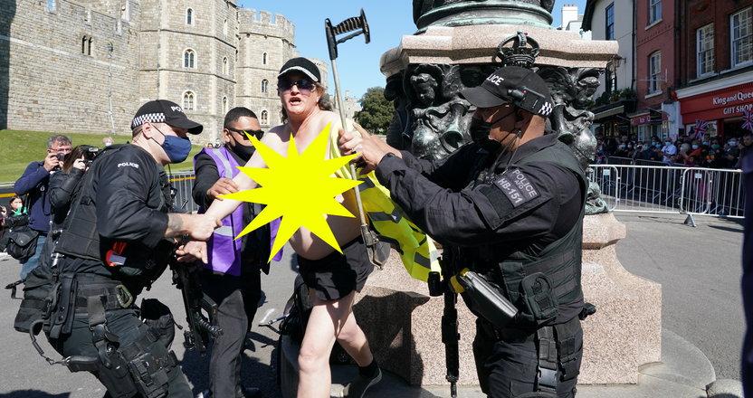Skandal podczas uroczystości pogrzebowych księcia Filipa! Aresztowano półnagą kobietę!