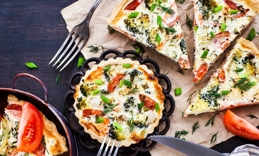 Homemade quiche with broccoli and cheese