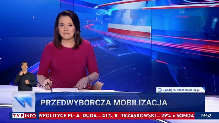 "Kadr z programu ""Wiadomości"" TVP"