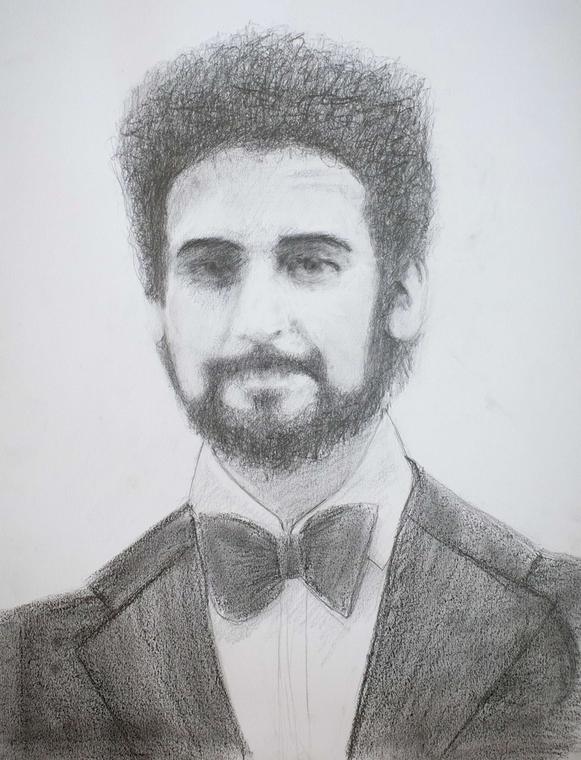 Peter Sutcliffe na rysunku autorstwa Mo Lea