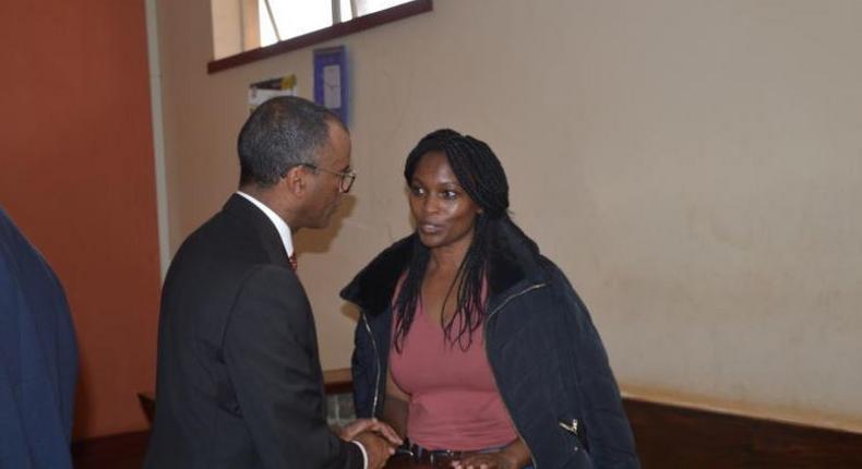 Sarah Wairimu with her lawyer Philip Murgor