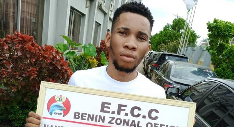 22-year-old Kenneth Gift is a Computer Science student of the University of Port Harcourt [EFCC]