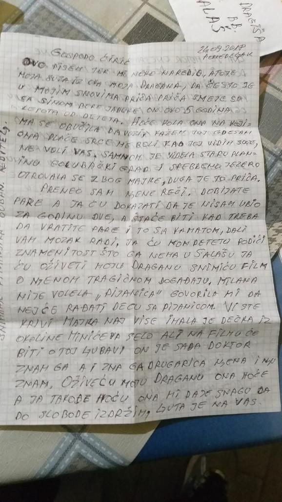 Pismo koje je ubica poslao