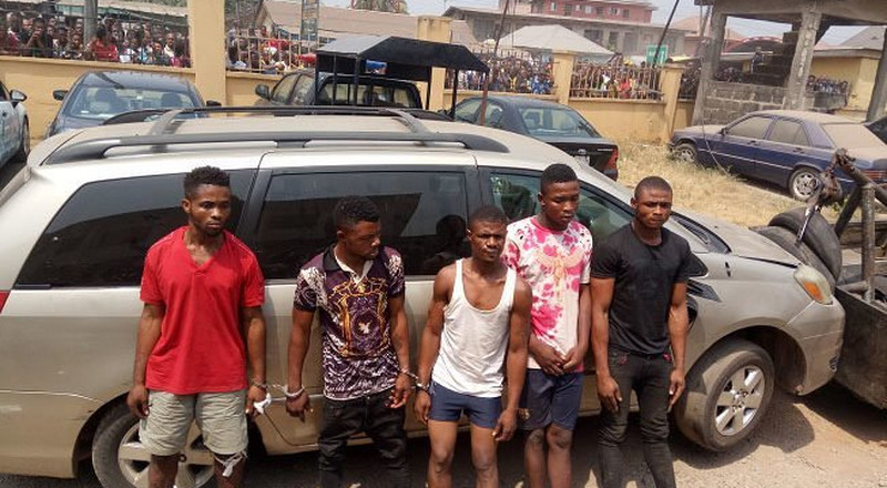 Police parade robbery suspects who allegedly killed couple in Abia