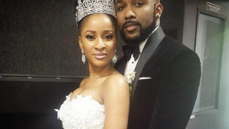 "Adesua Etomi and Banky W on set of ""The Wedding party"""