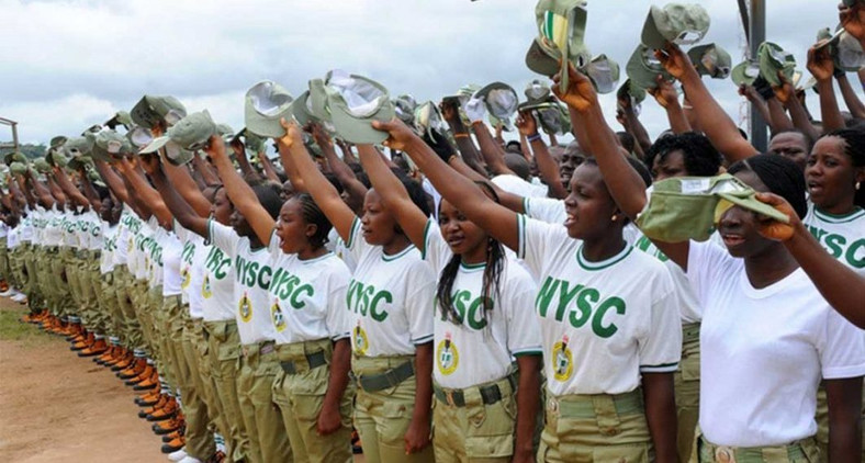 NYSC members at an orientation ground (Punch)