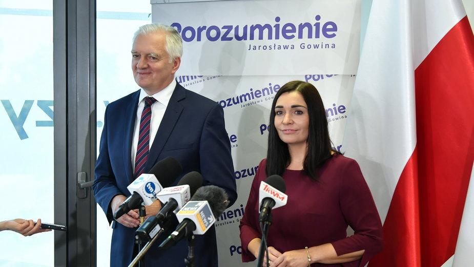 Prezes partii Jarosław Gowin i rzeczniczka Magdalena Sroka