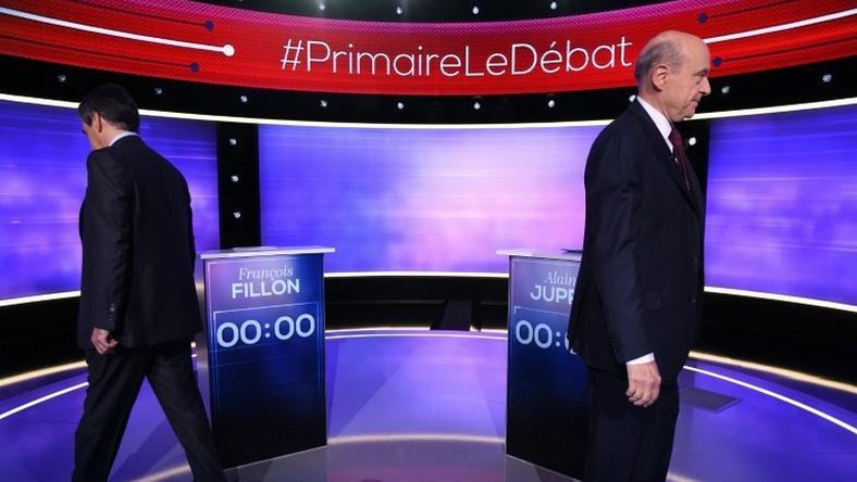 If Francois Fillon (L) beats Alain Juppe in the rightwing primary, he is widely tipped to become president with polls showing he would likely defeat Marine Le Pen
