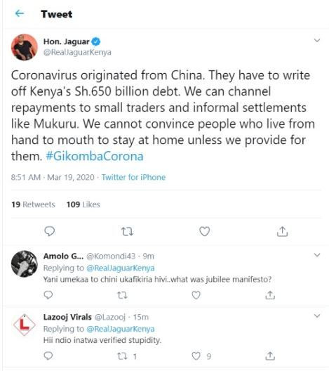 Hon. Jaguar's tweet