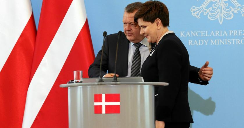 Premier Danii Lars Rasmussen i premier Polski Beata Szydło na spotkaniu m.in. w sprawie Baltic Pipe w kwietniu 2016 r.