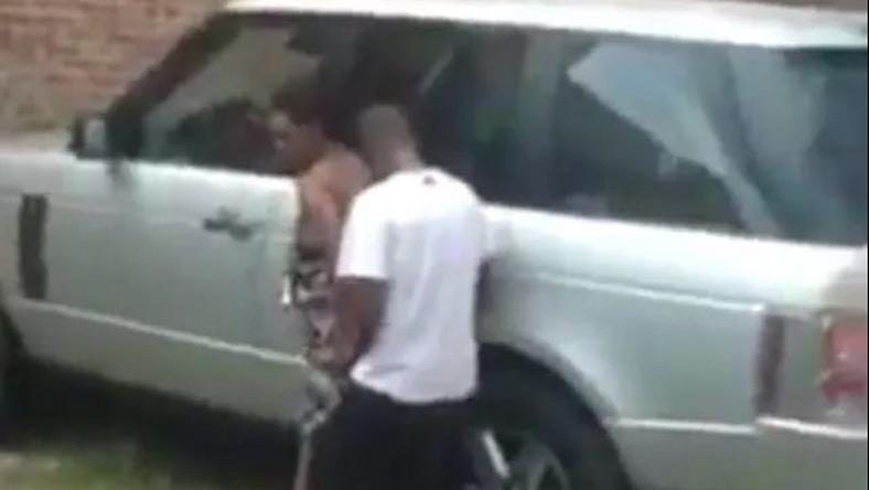 Lovers captured having sex on range rover in broad daylight