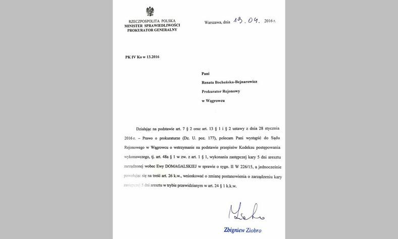 Pismo z błędem, które podpisał minister Zbigniew Ziobro