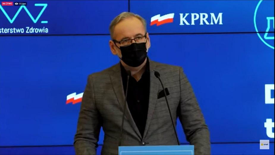 Adam Niedzielski, minister zdrowia. O której minister zorganizuje swoją konferencję?