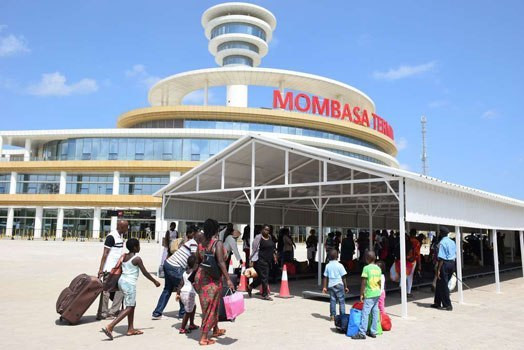 File image of commuters at the Mombasa SGR terminus