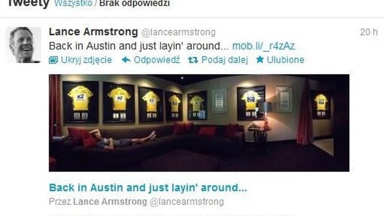 Taki zdjęcie Lance Armstrong zamieścił na Twitterze