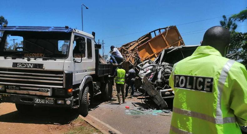 File image of a past accident along Kisumu-Nairobi Highway (Courtesy)