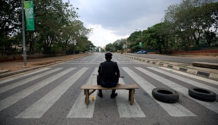 Eerily quiet Nigerian street during the COVID-19 lockdown (The Africa Report)