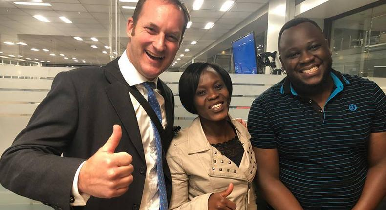 4G Capital Group Limited Wayne Hennessy-Barrett with Winnie a small Duka owner and Tony Kuchio, CEO of Buymore POS a digital point of sale app provider. (Facebook/4GCapitalKenya)
