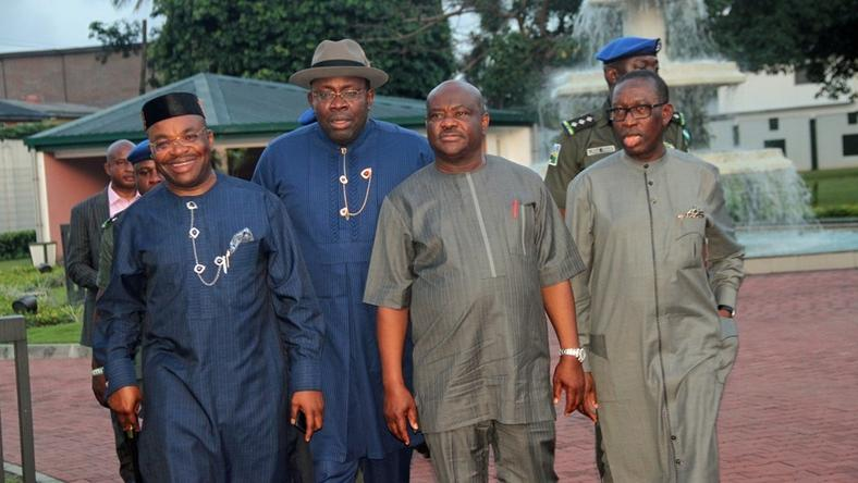 From L-R Akwa-Ibom state Governor, Udom Emmanuel, Governor Seriake Dickson of Bayelsa state, Nyesom Wike, Governor of Rivers state and Delta state Governor, Ifeanyi Okowa (Premium Times)