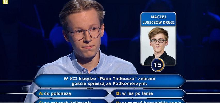 """""""Milionerzy"""" padło pytanie o """"Pana Tadeusza"""" i Morze Śródziemne"""