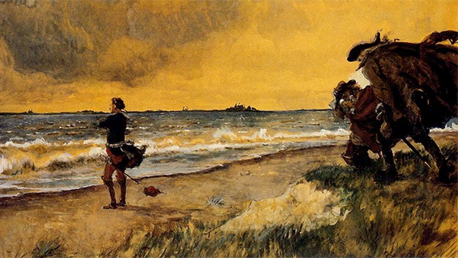 """""""Piotr I Wielki nad brzegiem Bałtyku rozmyślający o zbudowaniu St. Petersburga"""", obraz Aleksandra Benoisa z 1916 r."""