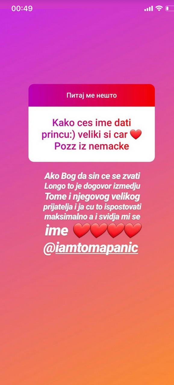Nadežda Biljić, Tomislav Toma Panić, ime sina