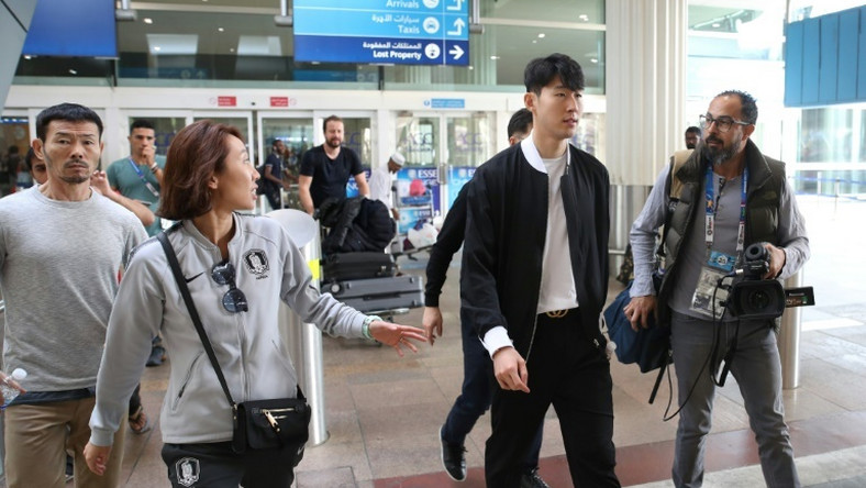 Son Heung-min (2-R) arrived in Dubai after playing in Tottenham's 1-0 loss to Manchester United on Sunday
