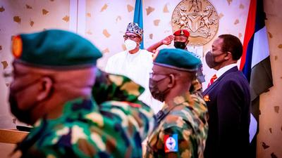 President Muhammadu Buhari in a security meeting with service chiefs [Presidency]