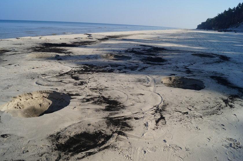 Plaża zniszczona przez bursztyniarzy