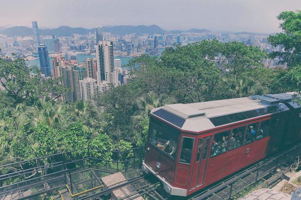 Hong Kong, tramwaj na wzgórze Wiktorii