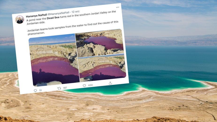 Morze Martwe zmieniło kolor na czerwony