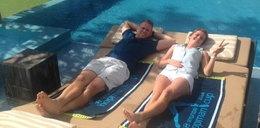 Agnieszka Radwańska relaksuje się w basenie