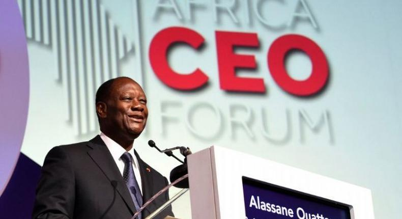 Alassane Ouattara speaking at the Africa CEO Forum (Ivoire Times)