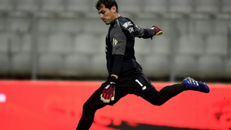 Iker Casillas in action for Porto against Moreirense in the Portuguese league at the weekend