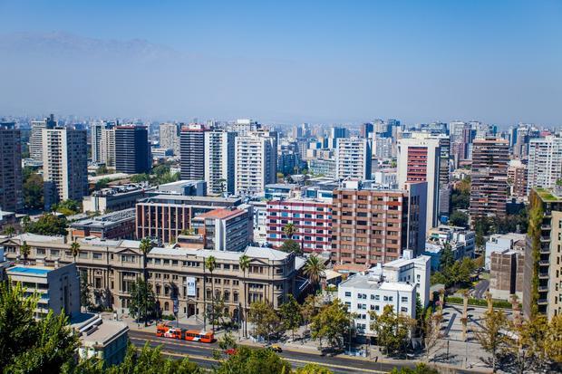 Santiago, Chile. Widok z Cerro Santa Lucia
