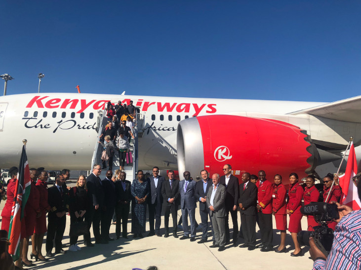 On Thursday, Kenya Airways touched down at the Genève airport in Geneva Switzerland to a warm welcome complete with a water cannon salute