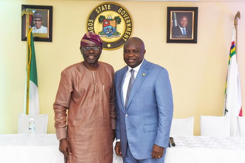 Ambode played host to Sanwo-olu in his office after he lost the October 2018 primary election contest (Lagos govt house)