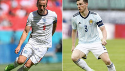 Old enemies: England face Scotland for just the second time at a major tournament on Friday Creator: Laurence Griffiths