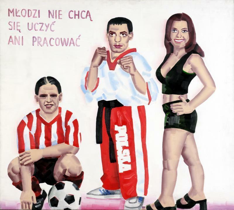 """Marcin Maciejowski,""""Młodzi nie chcą się uczyć ani pracować"""", olej, płótno, 2000 r."""