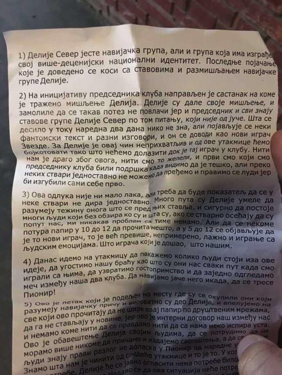 Pismo navijača Zvezde u kome saopštavaju da će bojkotovati mečeve crveno-belih