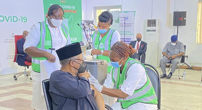 Minister of Health, Dr Osagie Ehanire, receiving COVID-19 vaccine jab [Twitter/@NphcdaNG]