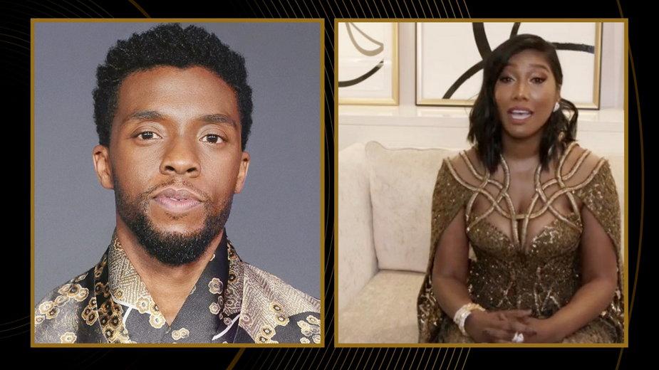 Chadwick Boseman i Simone Ledward Boseman podczas tegorocznej gali Złotych Globów