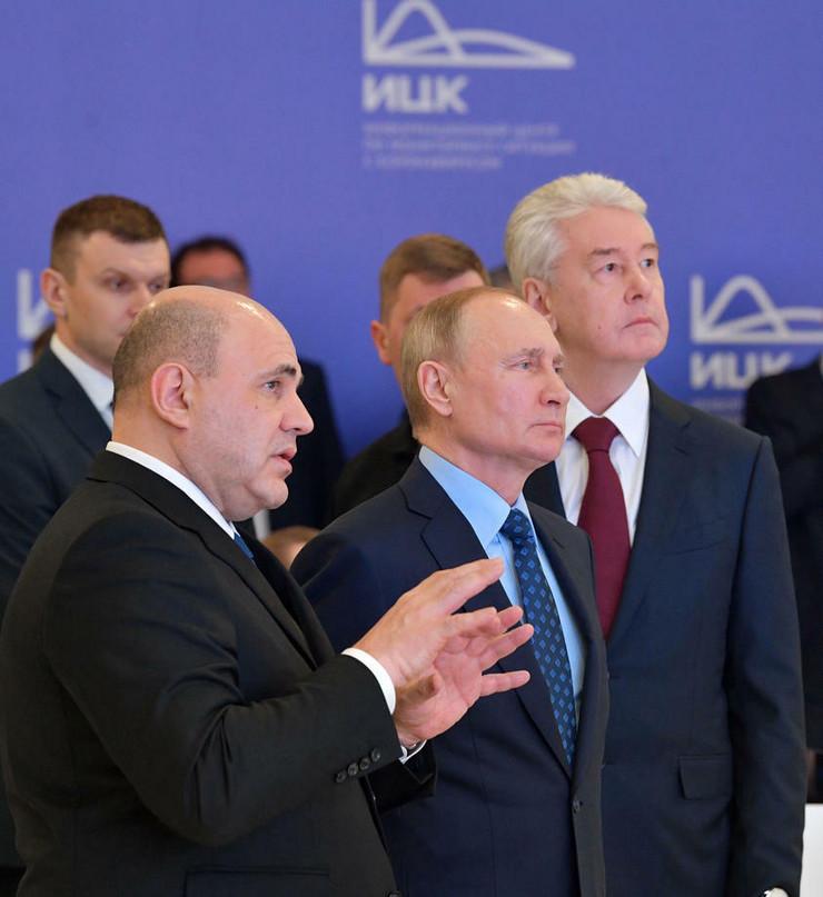 Mihail Mišustin, Vladimir Putin i Sergej Sobjanin